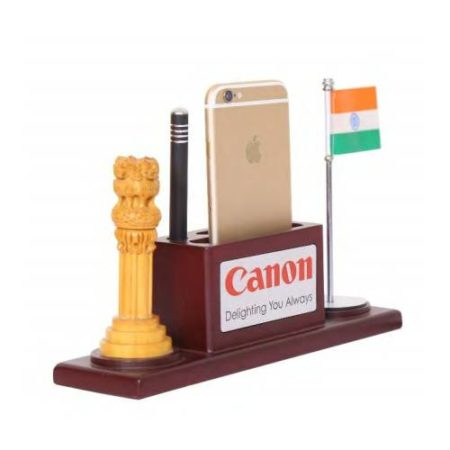Desktop Organizer/ Office Table Top With Ashoka, Indian Flag And Memo Pad