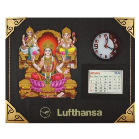Laxmi Ganesh Saraswati Frame / Wall Hanging with Watch & Calendar
