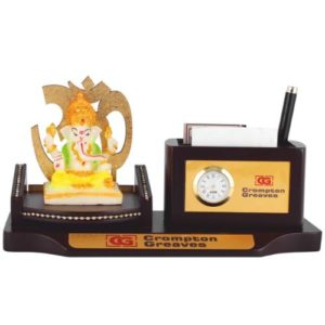 Desk Organizer / Table Top - God Idol with Pen Stand & Watch