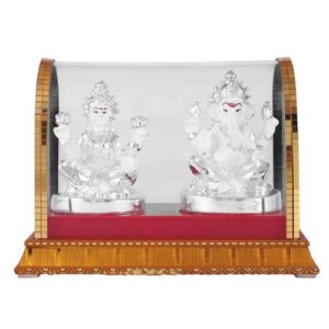 Laxmi Ganesh God Idol in Glass