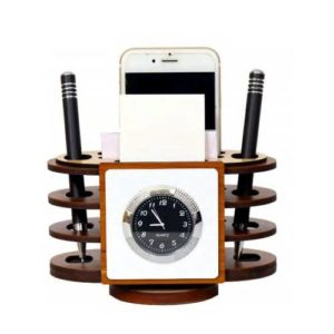 Revolving Desktop Organizer/ Office Table Top With Watch, Mobile Stand & Memo Pad