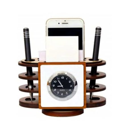 Revolving Desktop Organizer/ Office Table Top Watch Mobile Stand & Memo Pad