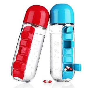 Water Bottle with Pill Box - 650 ml
