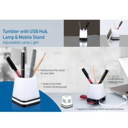 Tumbler With Usb Hub, Lamp And Mobile Stand