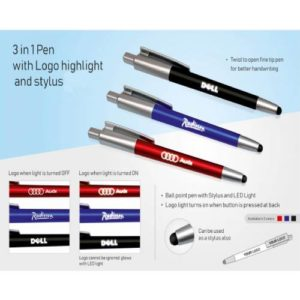 3 in 1 Pen with Logo Highlight & Stylus -L123