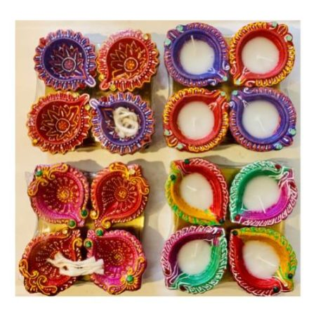Multicolour Diya Set of 4 | Diwali Special