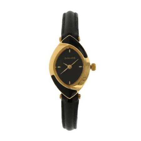 Sonata Black Leather Strap Watch NJ8069YL01C