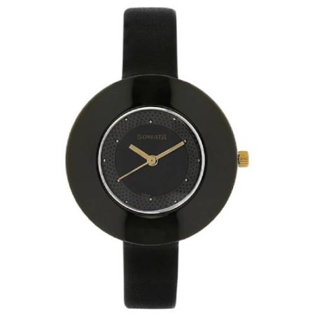 Sonata Black Leather Strap Watch NJ8959NL01C