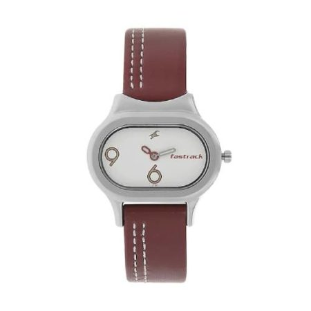 Fastrack Red Leather Strap Watch NK2394SL01