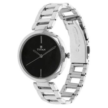 Titan Black Dial Strap Watch NK2480SM02