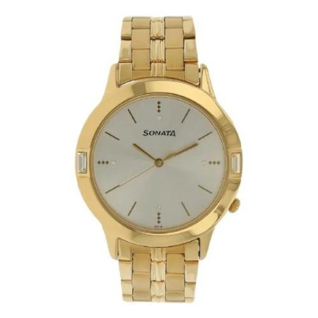 Sonata Golden Dial Watch NK7111YM01