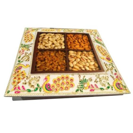 Peacock Design Dry Fruit Tray