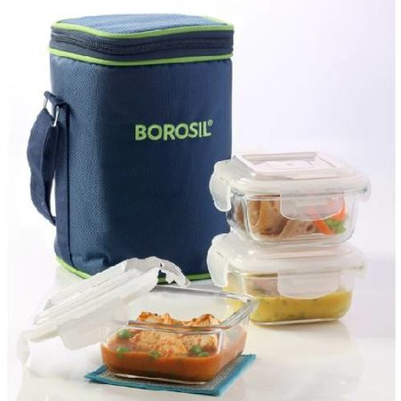 Borosil Sqaure Glass Lunch Box 3 Containers