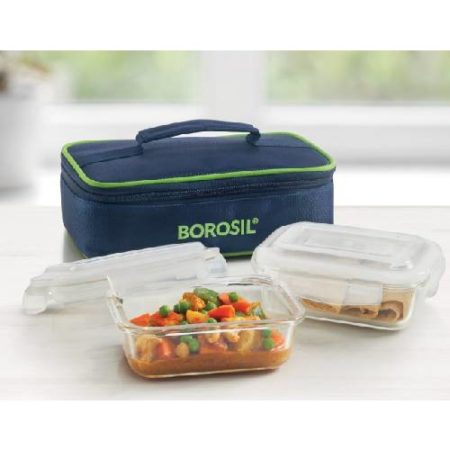 Borosil Rectangular Glass Lunch Box 2 Containers