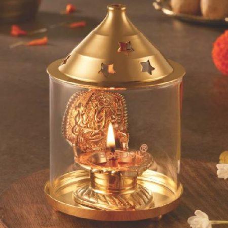 Borosil Shree Ganpati diya brass