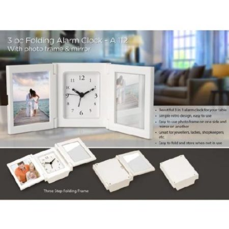 3 PC Folding Alarm Clock With Photo Frame And Mirror