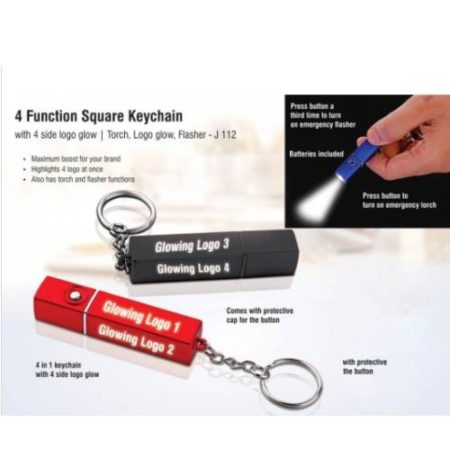 4 Function Square Keychain With 4 Side Logo Glow