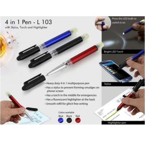 4 in 1 Pen With Stylus ,Torch and highlighter