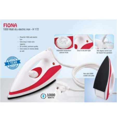 Fiona-1000 Watt Dry Electric Iron By Power Plus