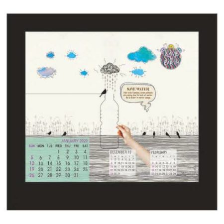 Frame Table Calendar With Watch (2)