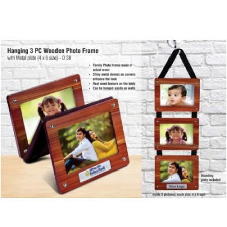 Hanging 3 pc Wooden Photo Frame With Metal Plate