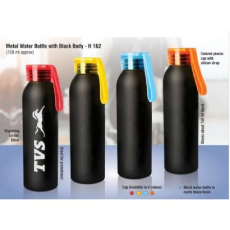 Metal Water Bottle With Black Body