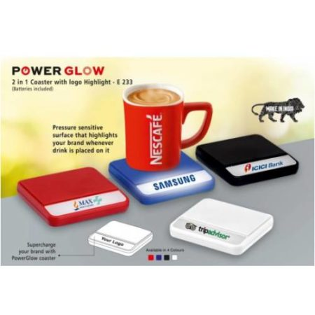 Power Glow Coaster With Logo Highlight