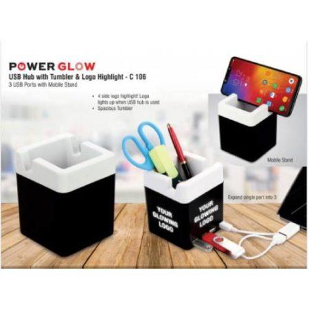 Powerglow USB Hub With Tumbler