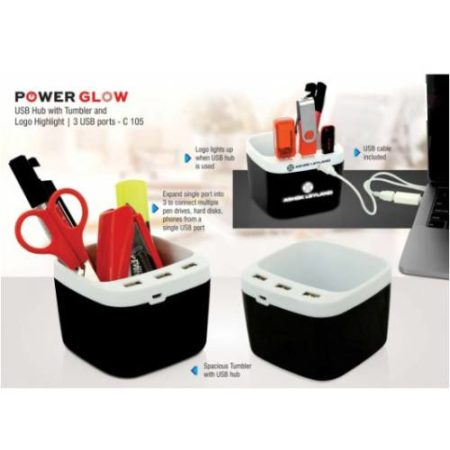 Powerglow USB Hub With Tumbler And Logo Highlight