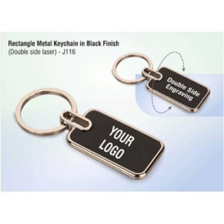 Rectangle Metal Keychain In Black Finish ( Double Side Laser)