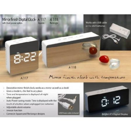 Wooden Table Top With Detachable LED Clock ,Visiting Card Holder And Tumbler